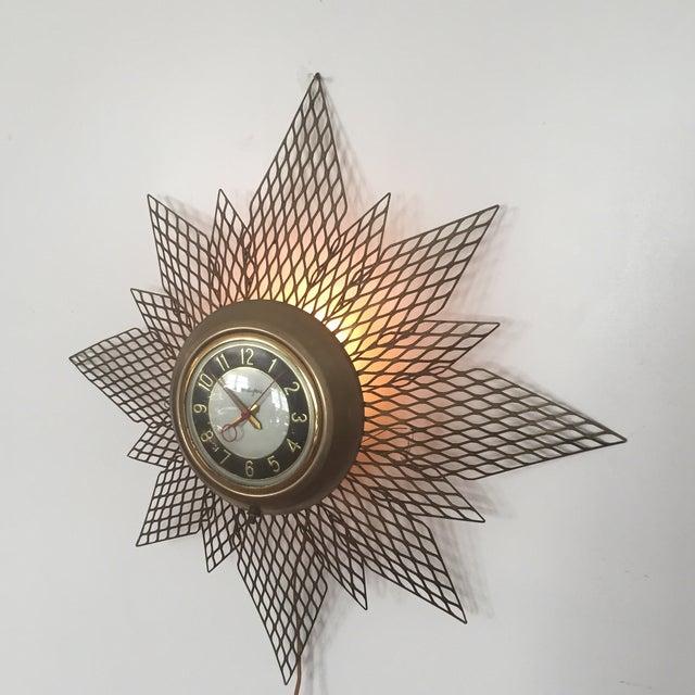 Brass Starburst Wall Clock - Image 5 of 7
