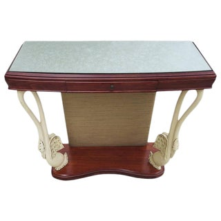 Italian Art Deco Console Table With Carved Painted Swan Legs