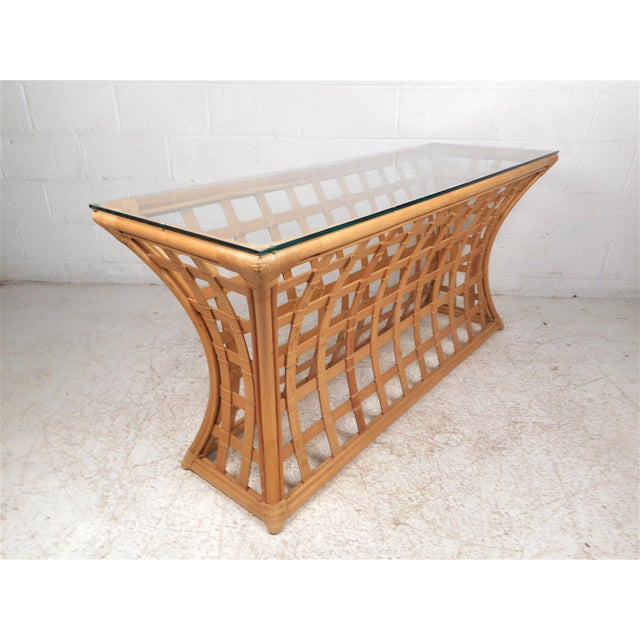 Vintage Modern Bamboo and Glass Console Table For Sale - Image 12 of 12