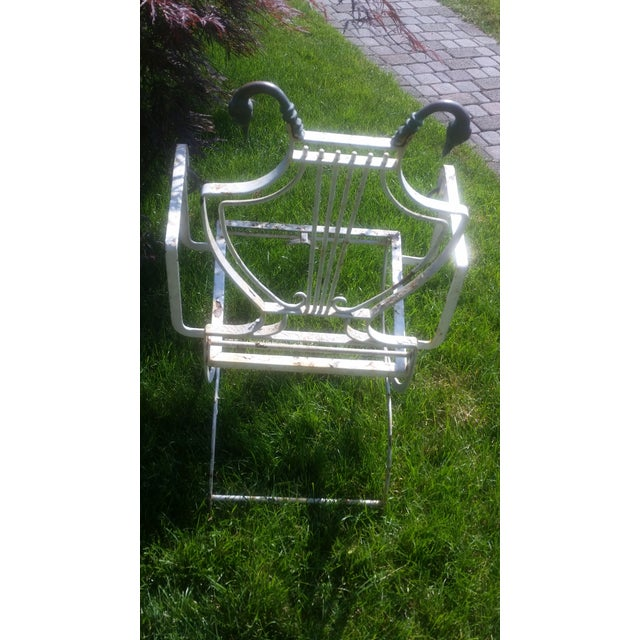 Antique Cast Iron Brass Duck Accent Folding Chair - Image 5 of 10