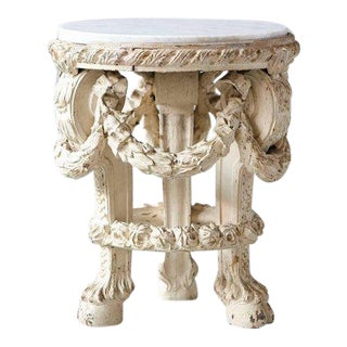 Victorian Side Table With Detailed Carvings Paint Finish and Marble Top For Sale