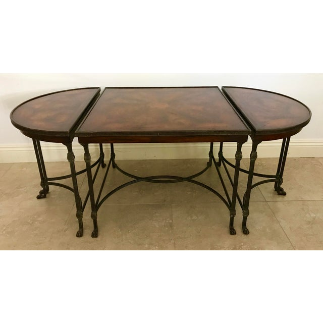 Here is a stunning set of 3 tables that can be arranged and used in a variety of fashions! The middle, larger table is in...