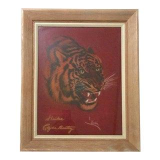 1950s Vintage Siberian Tiger Pastel Portrait Painting For Sale