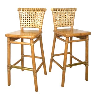 McGuire Rattan Bamboo Bar Stools- Pair For Sale
