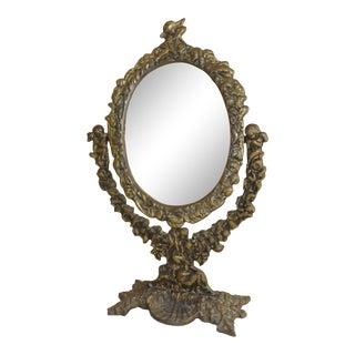 Antique Floral & Cherub Shell Design Bronze Vanity Mirror Hand Held For Sale