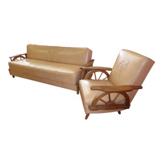 Vintage Western Cowboy Wagon Wheel Sleeper Sofa & Rocking Chair - A Pair