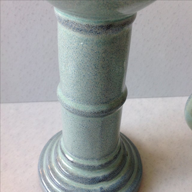 Sea Foam Pottery Candlesticks - A Pair - Image 11 of 11