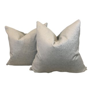 Textured Velvet Pillows in Silver - A Pair
