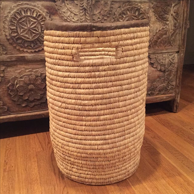 Large French Woven Basket With Leather Rim - Image 3 of 9