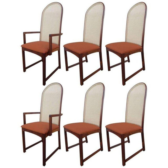 Walnut Caned Back Dining Chairs by Milo Baughman - Set of 6 For Sale - Image 7 of 7