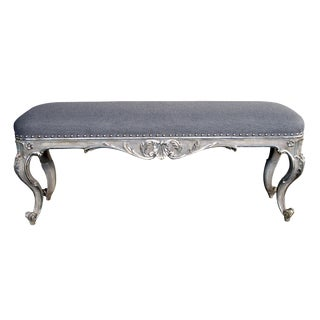 A Shapely and Well-Carved Venetian Rococo Style Painted and Silver Gilt Bench With Foliate and Shell Motif For Sale
