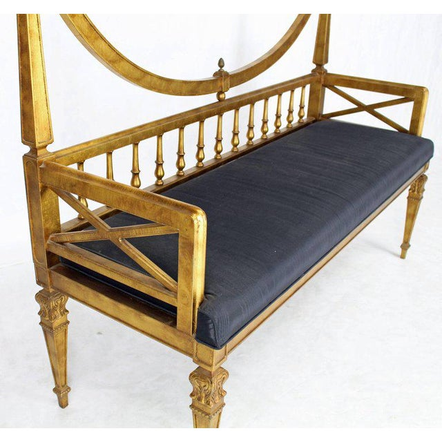 Hollywood Regency Vintage Mid Century Gold Leaf Black Upholstery Hollywood Regency Window Bench For Sale - Image 3 of 7