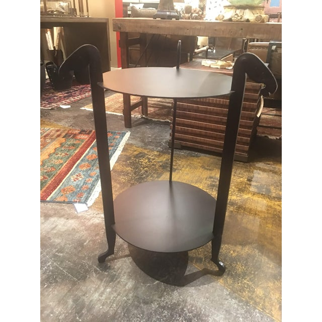 2010s Sarreid Forged Horse Leg Side Table For Sale - Image 5 of 13