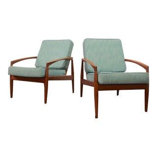 Mid Century Modern Kai Kristiansen Paper Knife Danish Lounge Chairs- a Pair For Sale