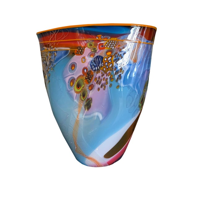 Contemporary Hand Blown Glass Vase For Sale - Image 4 of 4
