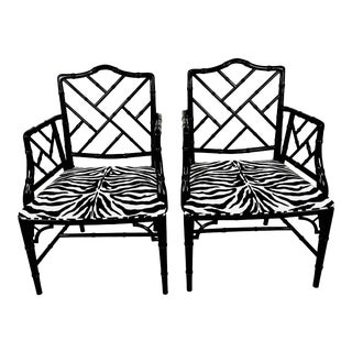 1970s Chinese Chippendale Style Side Chairs – a Pair For Sale