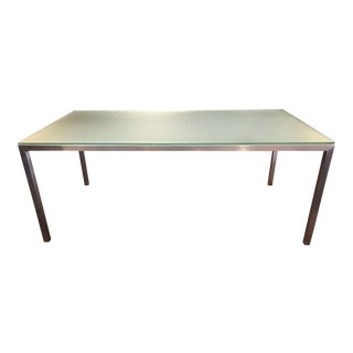 Contemporary Brushed Stainless and Glass Dining Table or Desk
