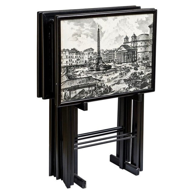 Folding Tray Tables Set With Scenes From Rome, Italy in Black & White, Set -4 For Sale - Image 10 of 10
