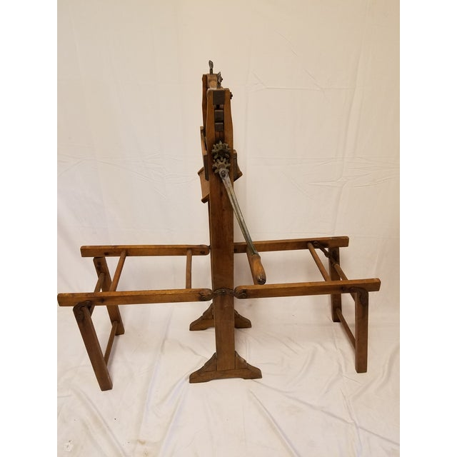 Country Antique Amish Handmade Hardwood Clothes Wringer For Sale - Image 3 of 7