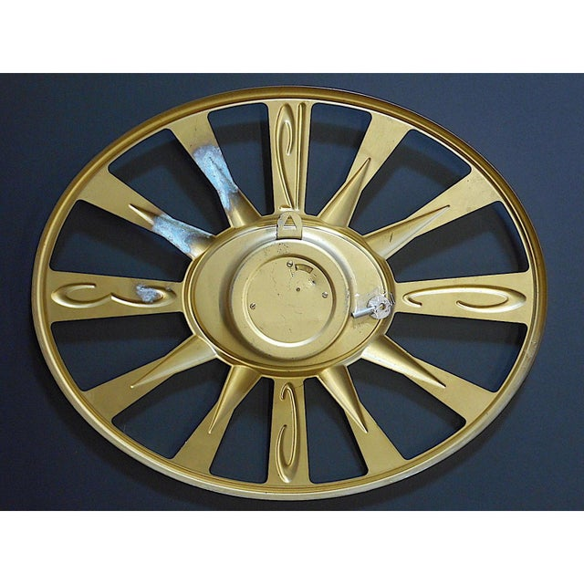 Mid-Century Modern Vintage Mid 20th C. Modern Brass Wall Clock With Key-Phinney Walker Eight Day Clock For Sale - Image 3 of 6