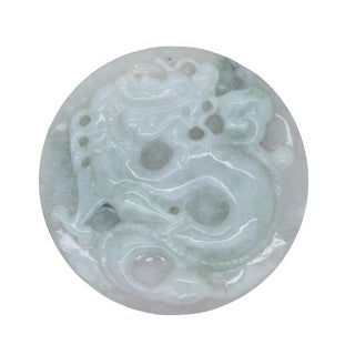 Green Jade Chinese Carved Zodiac Dragon Medallion Feng Shui Pendant For Sale