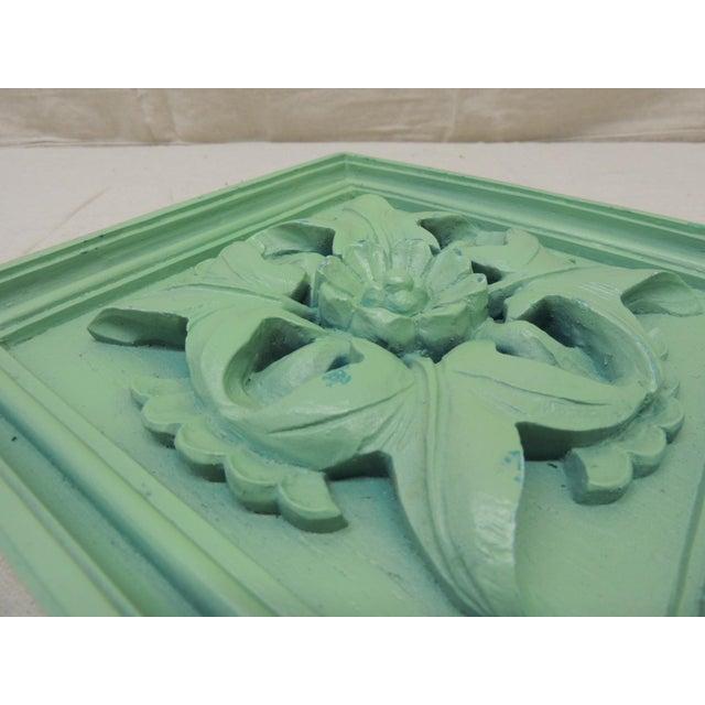 Art Nouveau Green Square Garden Decorative Wall Plaque. For Sale - Image 3 of 5