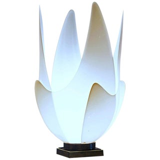 Large Midcentury Sculptural Blossoming White Tulip Lamp by Roger Rougier For Sale