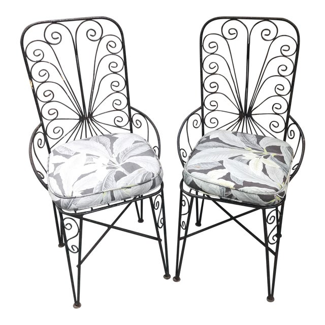 Vintage Petite Iron Chairs - A Pair - Image 1 of 6