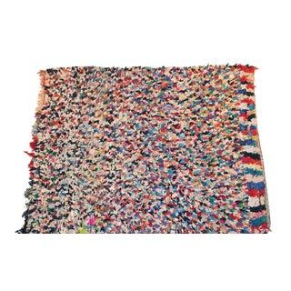 """Vintage Boucherouite Moroccan Carpet - 6'8"""" X 5'6"""""""