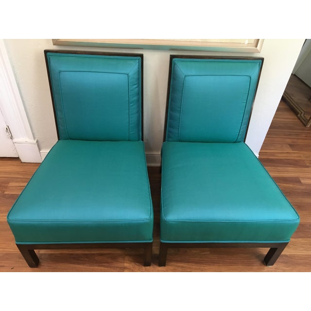 Pair of fabulous square back vintage Italian club chairs, circa 1970. Suitable for any style or any room. Clean lines and...