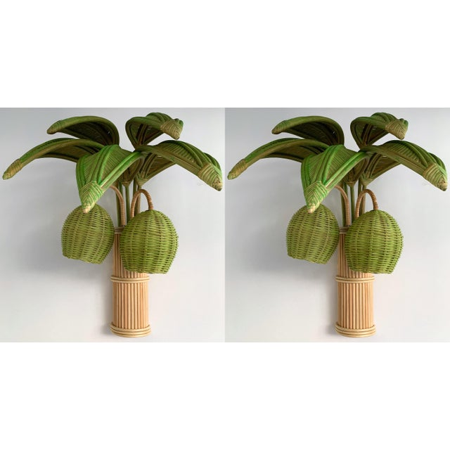 Pair of Rattan Palm Tree Sconces. France, 1980s For Sale - Image 11 of 11