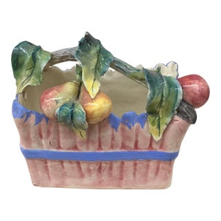 Italian Ceramic Fruited Basket For Sale
