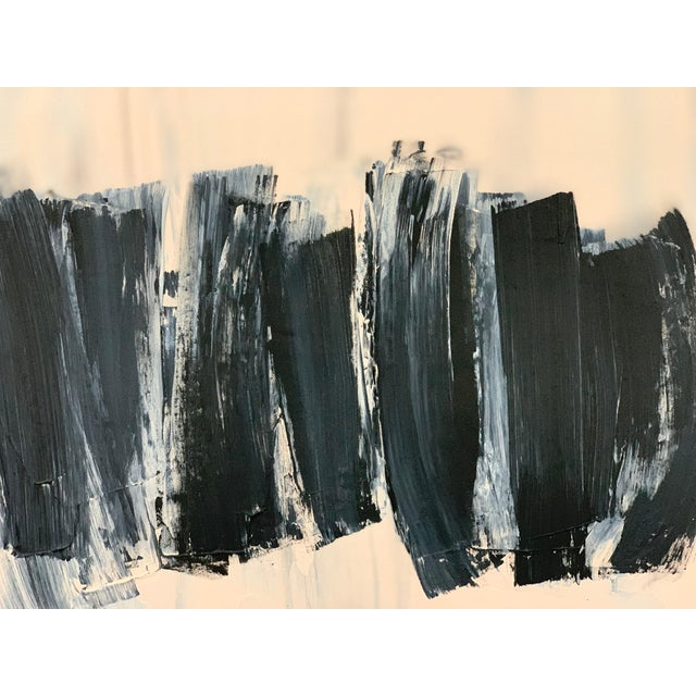 Carolanna Parlato After Melancholia III Abstract Black Beige Painting 2019 For Sale - Image 4 of 6
