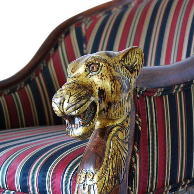 Hollywood Regency Gilded Lion's Head Chairs - Pair For Sale - Image 7 of 10