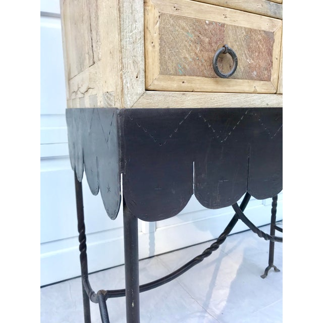 Folk Art Arte De Mexico Cabinet With Custom Iron Stand For Sale In Los Angeles - Image 6 of 7