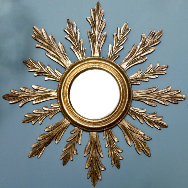 French Mid-Century Carved Giltwood Sunburst Mirror - Image 3 of 3