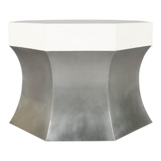 Octagonal Side Table - Stainless Steel and Cream Lacquer For Sale