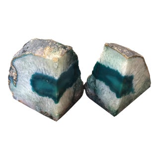 Brazilian Geode Polished Agate Quartz Crystal Bookends - a Pair For Sale