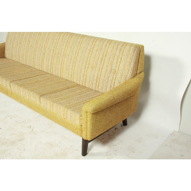 Gold Tufted Mid Century Sleeper Sofa And Side Chairs