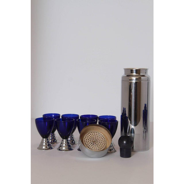 Metal Two Machine Age Art Deco Chase Chrome Blue Moon Cocktail Sets For Sale - Image 7 of 11