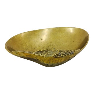 Vintage Brass Abalone Shell Dish