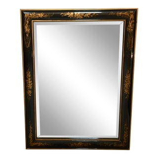 Chinoiserie Black and Gold Framed Rectangular Wall Mirror For Sale