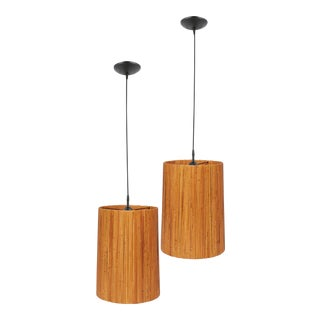 Mid-Century Tan Pendant Lights - a Pair For Sale