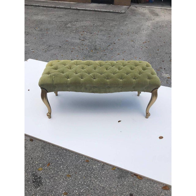 Gold Leaf French 19th Century Louis XV Benches With Green Velvet. For Sale - Image 7 of 13