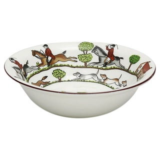 English Hunting Scene Coupe Cereal Bowl For Sale
