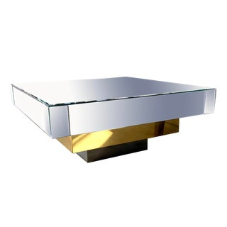 Art Deco Mirror Brass and Chrome Square Coffee Table For Sale