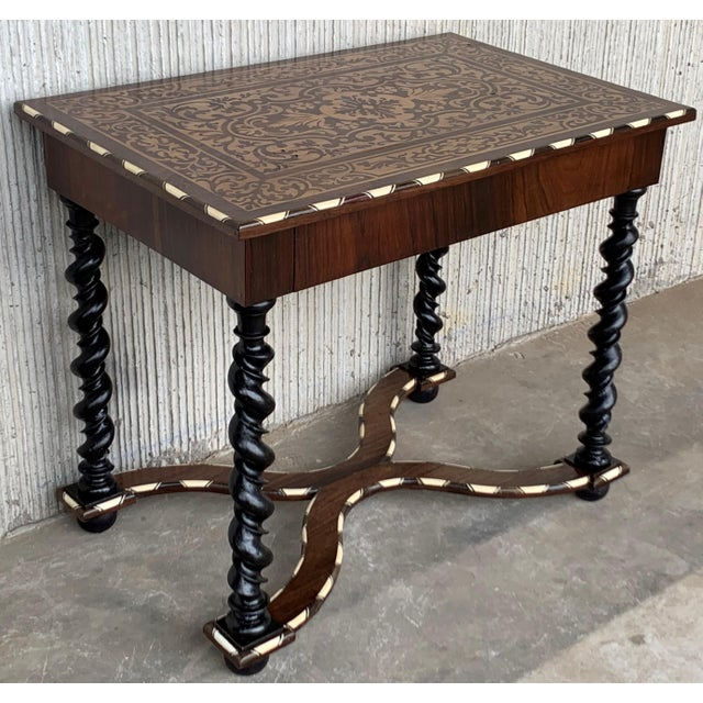 English 18th Century William and Mary Marquetry Side Table With Turned Legs & Stretcher For Sale - Image 3 of 12