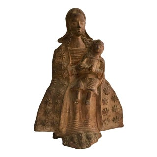 18th Century Antique Florentine Terra Cotta Madonna Architectural Ornament For Sale