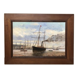 19th Century Framed Oil Painting on Canvas by A. Jaboneau For Sale