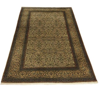 Flowers of 7 Mountains Hand-Knotted Kayseri Carpet in Cream and Grey | 4 X 5'6 For Sale